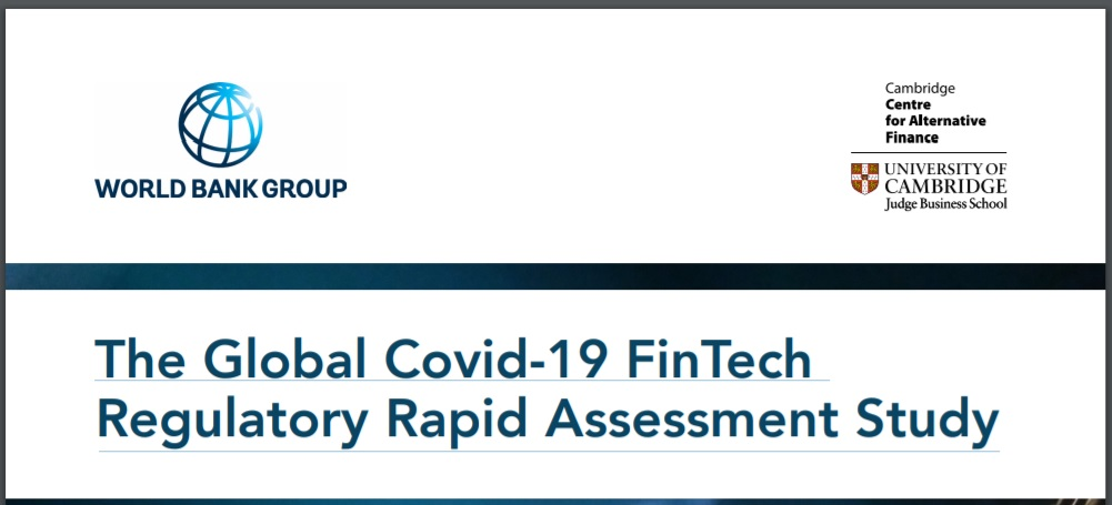 World Bank study into the impact of COVID-19 on the regulation of FinTech and regulatory innovation initiatives