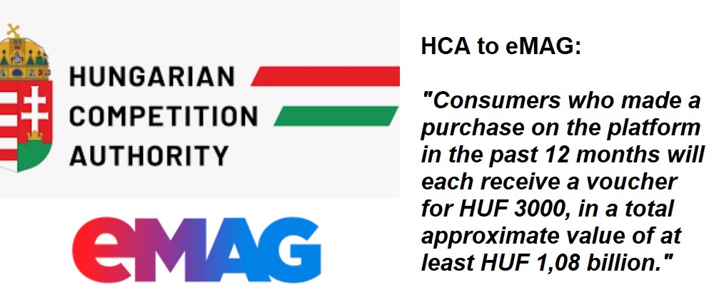 """Hungarian Competition Authority established that """"the discount practices of eMAG have been unfair towards consumers for a long time"""". HUF 200 million in fines and nearly HUF 4 billion (Euro 11,2 million) in compensation."""