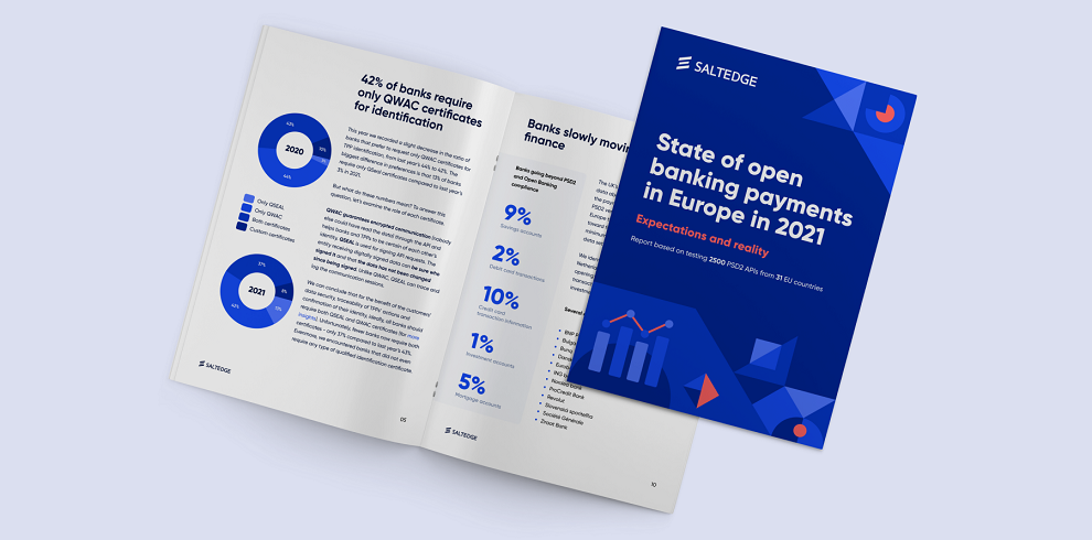 Salt Edge report: State of open banking payments in Europe in 2021. The report will be discussed at international fintech conference Banking 4.0.